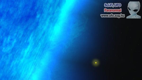Kék óriáscsillag a Naphoz viszonyítva
